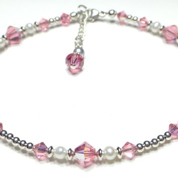 Silver Crystal Beaded Ankle Bracelets  | Pale Pink Tourmaline October Birthstone Anklets