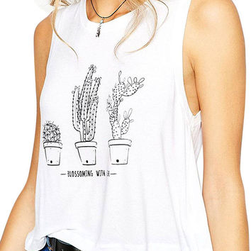 White Cactus Print Cropped Top