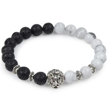 Leopard Lion Head Buddha Beads Bracelet