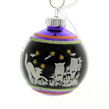Shiny Brite HALLOWEEN SIGNATURE FLOCKED. Glass Ball Ornament 4026973S H
