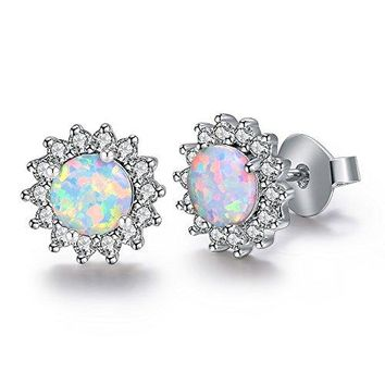 AUGUAU Dwearbeauty White Gold Plated Stud Cubic Zirconia and Opal Earrings