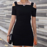 Black Short Sleeves Bodycon Mini Dress