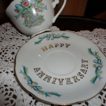 Lefton Hand Painted China Happy Anniversary Tea Cup And Saucer
