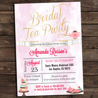 Bridal tea party invitations template Instant Download Editable of Adobe Reader, printable tea party bridal shower invitations