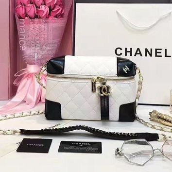 Chanel Women Zipper Cosmetic Bag Shoulder Bag Crossbody