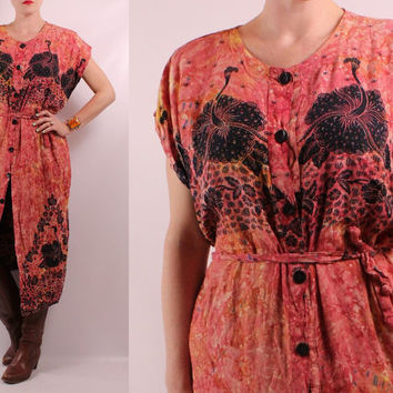 Vintage 70s - Coral Print Tie Dye Ethnic Floral Batik Design - Button Up Belted - Long Midi Caftan Dress - Hippie Boho