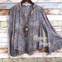 Faded Blue Floral Bell Sleeve Blouse