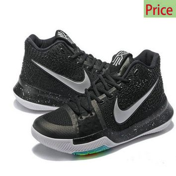 Spring Summer 2018 Cheapest Kyrie 3  Black Ice Anthracite Metallic Silver sneaker