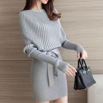 Knitted  Long Sleeve Sweater Dress