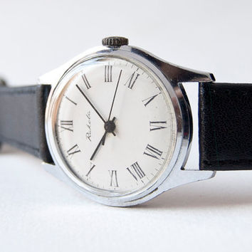Mens watch Raketa wristwatch mechanical silver white by SovietEra