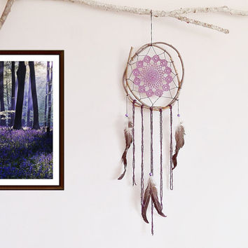 Dream catcher, purple, brown, black, large dreamcatcher, crochet doily, room decor, nature, handmade, boho bedroom, boho dreamcatcer, unique