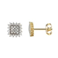 Sterling Silver 14k Gold Finish Cluster Prong Solitaire Lab Diamonds Iced Out Earrings