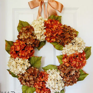Orange Brown and Ivory Hydrangea Wreath, Front Door Wreath, Country Wreath, Rustic Wreath, Summer Wreath, Fall Wreath