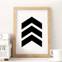 Black Chevrons, Chevron Wall Art, Black and White Chevron Print, Black Chevron Arrow Print, Black Arrow Print, Geometric Art, Wall Print