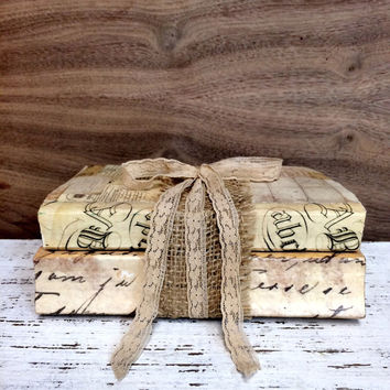 Books with Burlap, Faux Vellum Books,  Altered Books, Home Staging, Photo Prop, Books for display, Rustic Glam Books, Books for Wedding