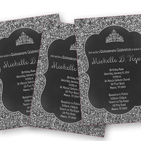 Silver Tiara Sweet 16 Birthday Invitation - Silver Glitter Sweet 15 Invitation - Bling 16 - Silver and Black Sweet 16 Invitations - Princess