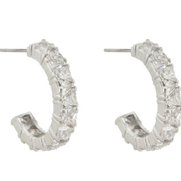 Freya Trillion Cut Hoop Earrings | 4.5ct| Cubic Zirconia | Silver