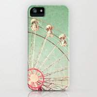 Ferris Wheel on Blue Textured Sky  iPhone Case by Andreka Photography | Society6