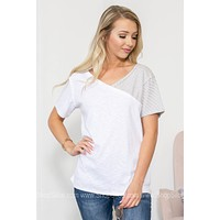 Heather Split Stripe V-Neck Top