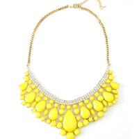 Neon Yellow Pave Crystal Teardrop Stone Statement Necklace