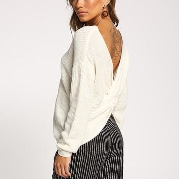 Cream Low Back Twisted Sweater Top