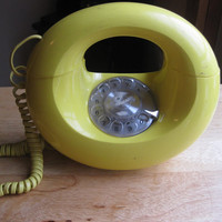 Vintage Yellow Rotary Phone, Round 50s Mod Kitsch Phone
