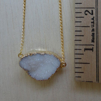 Gold Plated Druzy Necklace