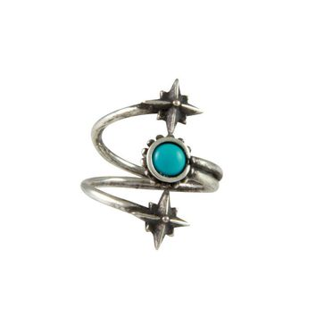 Mystical Wrap Ring in Antique Silver with Turquoise