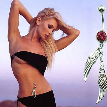 New Charming Dangle Crystal Navel Belly Ring Bling Barbell Button Ring Piercing Body Jewelry = 4651257028