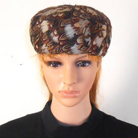 """Vintage Italian Ladies Feather Hat Beautiful Feathers 7"""" x 8"""" x 4"""" - Free US Shipping"""