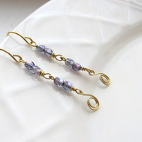 Amethyst and Gold Earrings, Czech Glass and Brass Handmade Earrings, Gift for Her