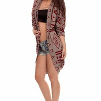 RED AZTEC QUARTER SLEEVE CARDIGAN SWEATER