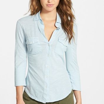 Women's James Perse Sheer Slub Panel Shirt
