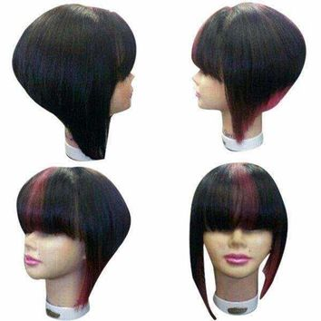 Medium Full Bang Straight Inverted Bob Colormix Synthetic Wig - Red With Black | Fwresh Beauty