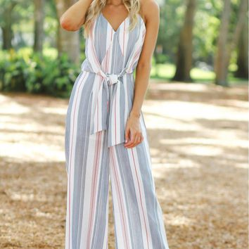 Vertical Striped Jumpsuit Denim/ Rust
