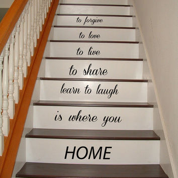 Wall Decals Quote Love Family Home Staircase Stairway Stairs Phrase Art Mural Vinyl Decal Sticker Interior Design Decor KG743