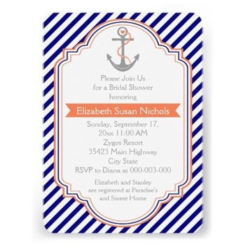 Navy blue, coral nautical wedding bridal shower invitation