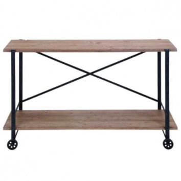 Industrial Rolling Console Table