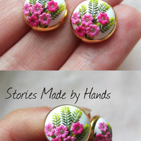 Gentle Spring in Autumn Handmade Clay Pink Stud Earrings Flower stud earring Women floral earring Birthday gift for Her ear studs Summer