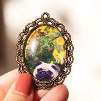 Pug Jewellery, Cute Brooch - Necklace, Vintage Inspired Pendant, Dog Art, Nature Photography, Jewellery For Women, Teen, Spring Fashion.