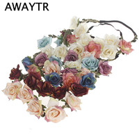 Hair Flower Crown Woman 2017 New Women Handmade Cloth Flower Headband Summer Beach Adjustable Women Girls Rose Flower Crown