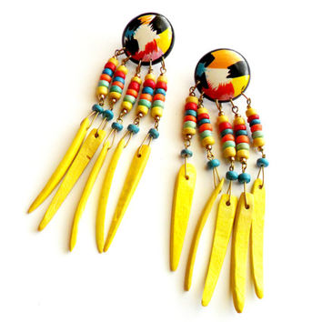 Vintage Beaded Wood Pierced Earrings - Tropical Summer Style - Wooden Dangle - Yellow Rainbow Painted - Island Vacation - Festival Gear
