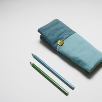 Handmade pencil roll holder for kids with turquoise cotton and with turquoise and blue dots. Ready to ship