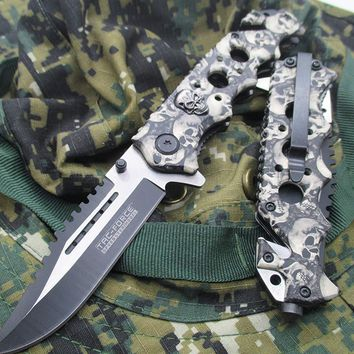 """8"""" SPRING ASSISTED TACTICAL CAMO Folding POCKET KNIFE Blade Open Stainless"""
