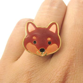 Shiba Inu Puppy Face Shaped Adjustable Animal Ring in Brown | Limited Edition Jewelry