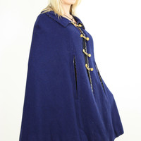70s reversible plaid wool cape mod Navy Blue