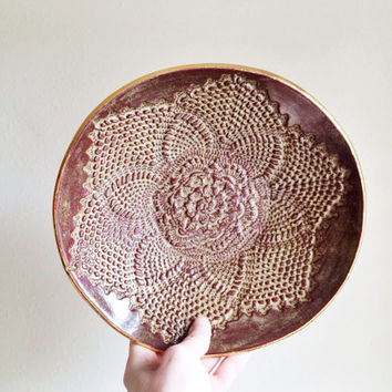 Lace Ceramic Platter - Large Ceramic Bowl - Fruit Bowl - Gold Ceramics