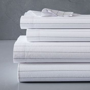 Organic Washed Cotton Stripe Sheet Set - Slate