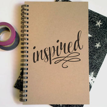 Writing journal, spiral notebook, cute diary, small sketchbook, scrapbook, memory book, 5x8 journal - Inspired