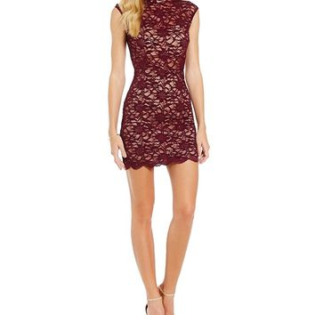 B. Darlin Mock Neck Illusion Waist Lace Sheath Dress | Dillards